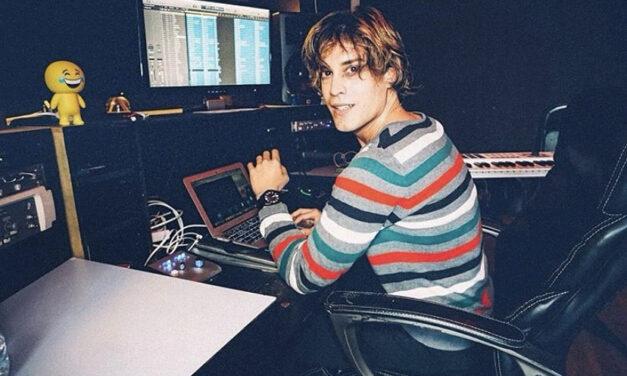Ricky Dechard working on music in his Los Angeles studio